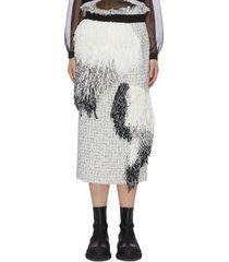 asymmetric fringe patch tweed pencil skirt