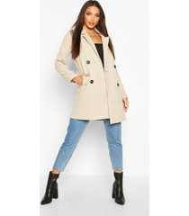 double breasted slim fit wool look coat, stone