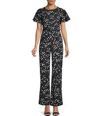 belted floral jumpsuit