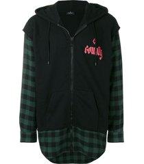 marcelo burlon county of milan shirt effect hoodie - black