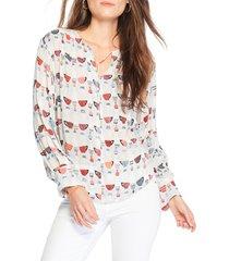 women's nic+zoe perk up tie neck blouse, size medium - white
