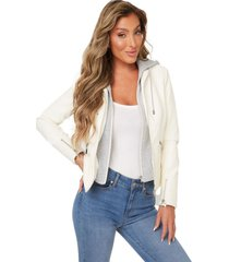 chaqueta g nelly hooded jacket blanco guess