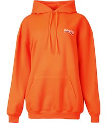 logo graphic hoodie fluorescent orange