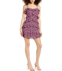 women's 4si3nna floral ruffle tiered minidress, size x-large - black