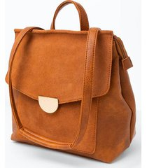 perry suede front flap backpack - cognac