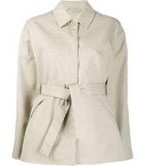 filippa k short belted mac jacket - neutrals