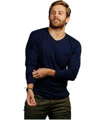 camiseta azul naval luck & load cuello redondo manga larga con bolsillo