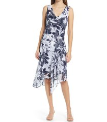 connected apparel floral print chiffon asymmetrical hem dress, size 10 in navy at nordstrom