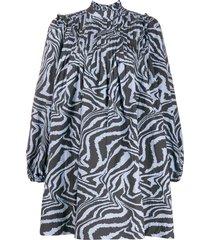 ganni swirl tiger-print dress - blue