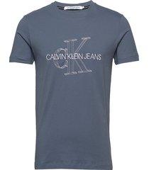 3d monogram slim tee t-shirts short-sleeved blå calvin klein jeans