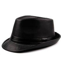 cappello da fedora caldo stile britannico vintage in pelle pu con bordo curvo in pelle jazz