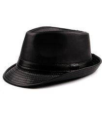 cappello invernale fedora in stile vintage invernale in pelle pu con cappuccio in stile vintage da uomo