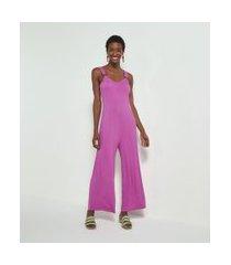 macacão pantalona liso com argola na alça comfy | marfinno | roxo | g