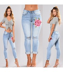 embroider flowers hole jeans pencil stretch denim pants skinny trousers women
