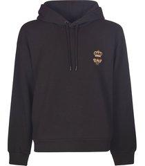 dolce & gabbana crown & bee embroidered hooded sweatshirt
