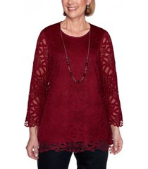 alfred dunner women's madison avenue solid lace top with necklace
