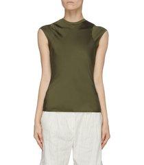 'bias' cap sleeve silk muscle top