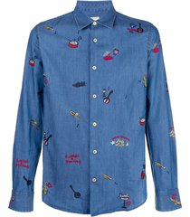 paul smith embroidered travel details shirt - blue