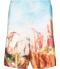 palm angels canyon print swim shorts - blue
