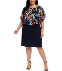 connected plus size chiffon popover dress