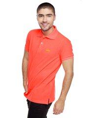 camiseta polo slim fit-naranja neón polovers