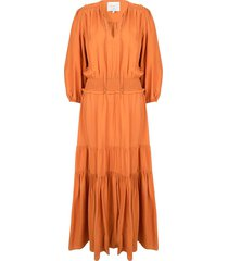 maxi-jurk met ruches marais  oranje