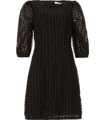 jurk met velvet stippen elyn  zwart