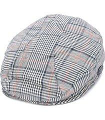 emporio armani plaid logo beret - neutrals