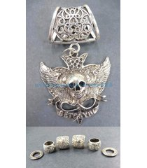 us seller-pendant charms skull death pendant slider scarf ring