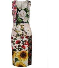 dolce & gabbana sleeveless floral print slim dress