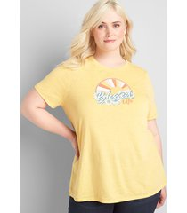 lane bryant women's blessed life graphic tee with curved high-low hem 22/24 artisan's gold