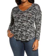 plus size women's bobeau sami camo v-neck top