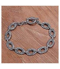 sterling silver link bracelet, 'fern forest' (indonesia)