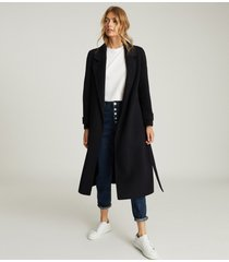 reiss leah - wool blend longline overcoat in navy, womens, size 12
