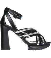 sandali donna con tacco pelle h353