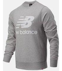 new balance trui men essentials stacked logo crew top atlantic grey
