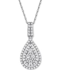 """diamond pave teardrop 18"""" pendant necklace (1 ct. t.w.) in 14k white gold or 14k yellow gold"""