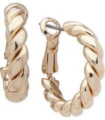 "anne klein gold-tone small twisted tube hoop earrings, 0.8"""