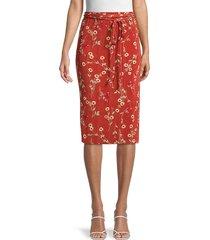 danielle bernstein women's floral belted skirt - redwood - size s