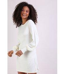 vestido de tricô feminino manga longa bufante off white