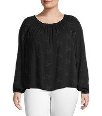sanctuary women's embroidered cotton-blend top - black - size 3x (22-24)