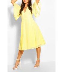 angel sleeve midi skater dress, yellow
