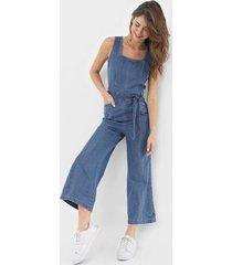 macacã£o jeans gap pantacourt com faixa azul - azul - feminino - algodã£o - dafiti