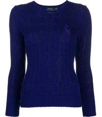 polo ralph lauren beaded logo pullover - blue