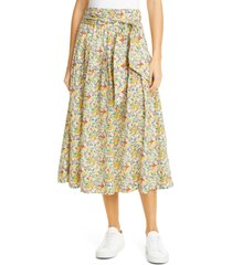women's the great. highland floral pleated midi skirt, size 3 - white