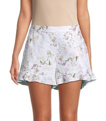 saks fifth avenue women's ruffled hem linen shorts - botanical - size m