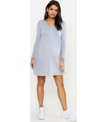 maternity button front smock dress, light grey