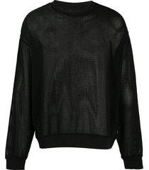 stussy pig. dyed mesh sweatshirt - black