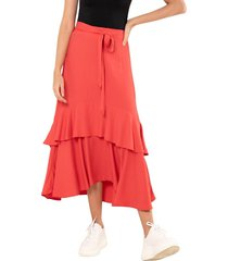 falda macondo rojo ragged pf11320384