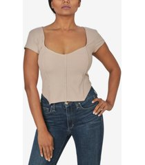 just polly juniors' corset-style rib-knit top